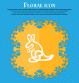 Kangaroo Icon sign Floral flat design on a blue vector image vector image