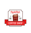 label for coffee shop vector image