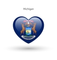 Love Michigan state symbol Heart flag icon vector image vector image
