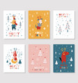 merry christmas card collection vector image vector image