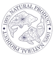 Natural product stamp with fish vector image vector image