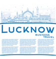 Outline lucknow skyline with blue buildings and