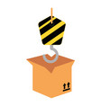 packing box carton with crane hook vector image vector image