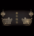 polygonal chinese traditional lantern and pig vector image