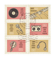 postage stamps retro music equipment theme vector image vector image