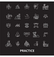 practice editable line icons set on black vector image vector image