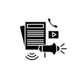 press realese black icon sign on isolated vector image
