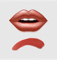 realistic female lips and lipstick template vector image
