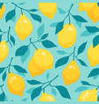 seamless pattern lemons on a turquoise backdrop vector image