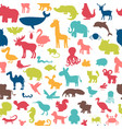 Seamless pattern with colored animals silhouettes