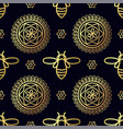 seamless pattern with gold bee vector image vector image