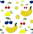 Seamless pattern with lemon plum cherry vector image