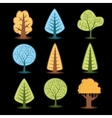 set different trees drawings christmas trees vector image