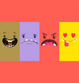 set four halloween monster faces vector image vector image