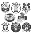 set of monochrome suit shop labels logos vector image vector image