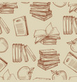 sketch vintage books seamless pattern or vector image