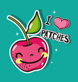 tropical kawaii apple patches fruit design vector image