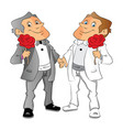 two men holding red rose vector image vector image