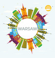 warsaw skyline with color buildings blue sky and vector image vector image