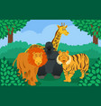 wild animal in jungle vector image vector image