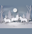 wolf in forest with snow and fullmoon vector image vector image