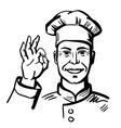 black happy chef vector image