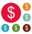 dollar icons circle set vector image