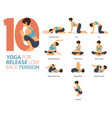 8 yoga poses for release low back tension concept vector image vector image
