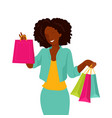 african american woman shopping on sale vector image vector image