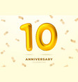 anniversary gold ballon with number ten 10 vector image vector image