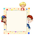Border design with children vector image vector image