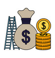 business money bag coins stairs success vector image vector image