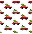 car with christmas tree pattern vector image vector image