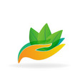 caring hands with nature leafs icon vector image