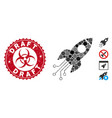collage electronic rocket icon with scratched vector image vector image