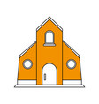 color silhouette image yellow church building vector image vector image