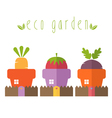 concept of garden pot with vegetables vector image