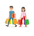 couple goes shopping man and woman characters vector image