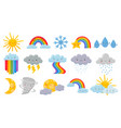 cute cartoon weather happy hot sun rainbow over vector image