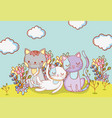 cute cats animals with clouds and flowers vector image vector image