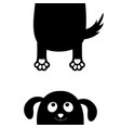 dog puppy face black silhouette holding hands up vector image vector image