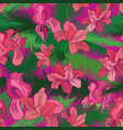 floral seamless pattern tropical fowers jungle vector image vector image