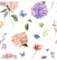 Floral seamless pattern with blooming hydrangea