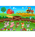 funny landscape with farm animals vector image vector image