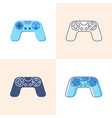 game controller icon set in flat and line style vector image