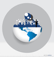 Globe and building with businessman and Modern vector image vector image