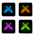 glowing neon crossed screwdrivers icon isolated vector image vector image