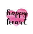 Happy heart Brush lettering vector image