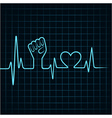 Heartbeat make unity hand and heart stock vector image vector image