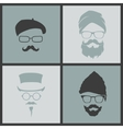 icons hairstyles beard and mustache hipster vector image